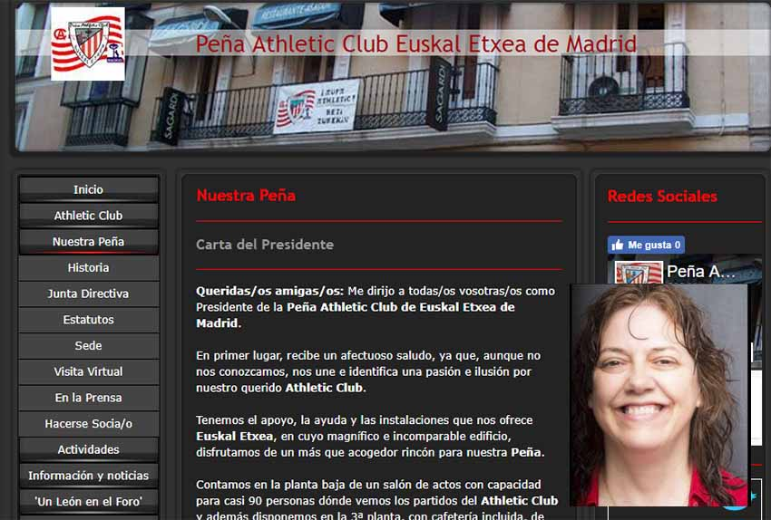 Athletic-en Madrilgo Euskal Etxeko Peñaren webgunea eta Alejandra Herranz blogger kazetari athleticzalea