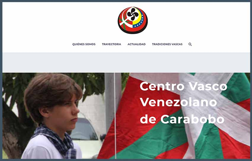 Caraboboko Eusko Etxe venezuelarraren webgune berrituaren azala