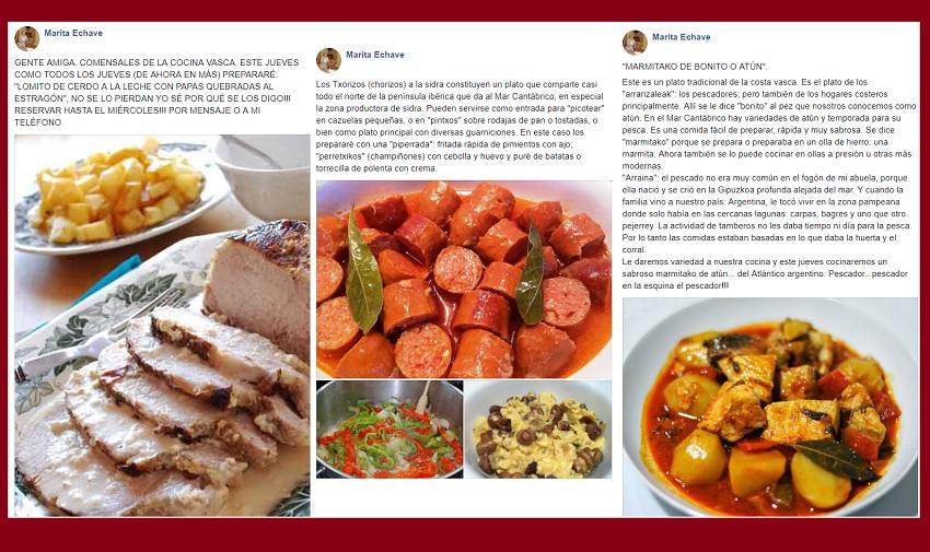Algunas de las recetas que Marita Echave prepara los jueves