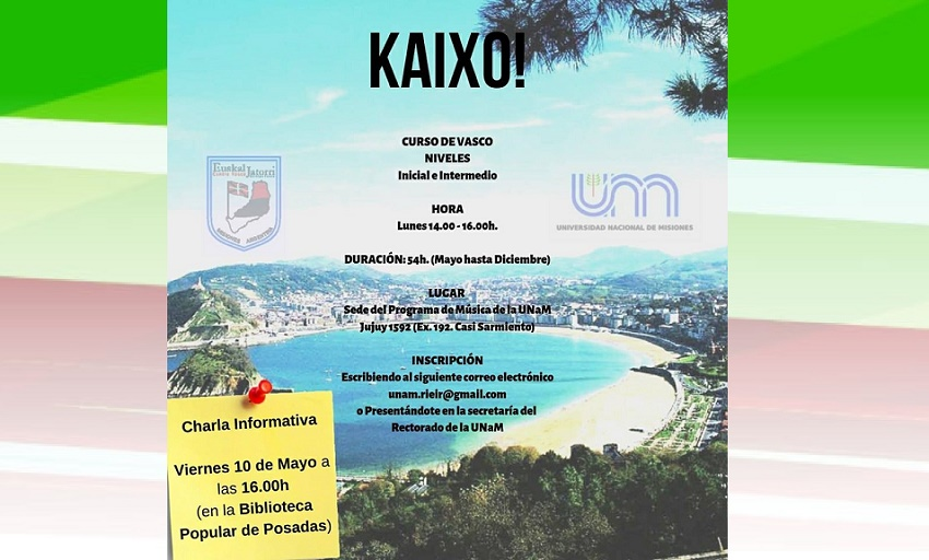 Announcement for the information meeting this Friday, May 10th about Basque classes at the National University in Misiones