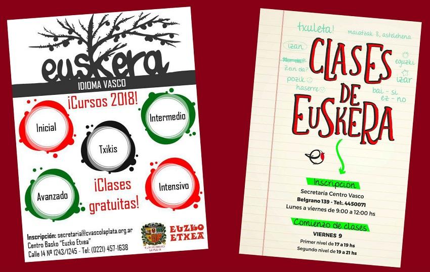 Afiches de las clases de euskera de La Plata y de San Nicolás
