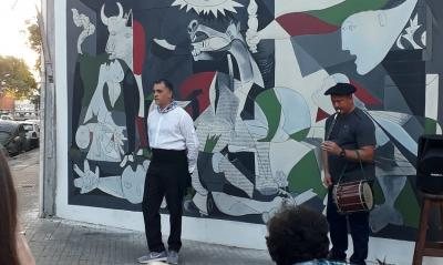 """Inauguration of the mural """"Guernica"""" at the Euskaro Basque Club"""