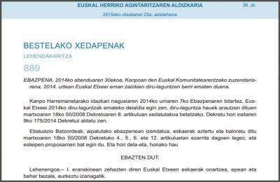 Euskal Etxe eta federazioen 2014ko dirulaguntzak partitzen dituen Ebazpena