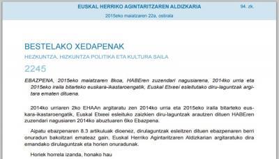 HABEko zuzendari nagusiaren Ebazpena Euskadiko buletin ofizialean (EHAA-BOPV)