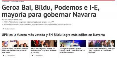 Diario de Navarra egunkariaren gaurko lehenengo orria, non UPN eta egungo Nafarroako Gobernutik gertu dagoen kazetak ere argi ikusten duen
