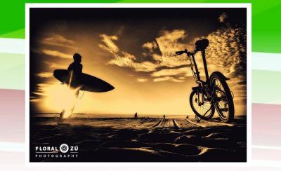 'Ilunabarrak' ataleko Donostian hartutako argazkia. 'Bicicletas en foco' liburuak ere badakartza Bilbon, Hondarribian, Biarritzen eta Donibane Lohizunen hartutako argazkiak
