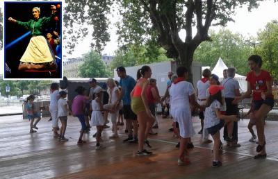 """Guadalupe Garcia, at the """"Dansons sur les quais"""" Festival 2019.  Above, Guadalupe at a Semana Vasca in Argentina"""