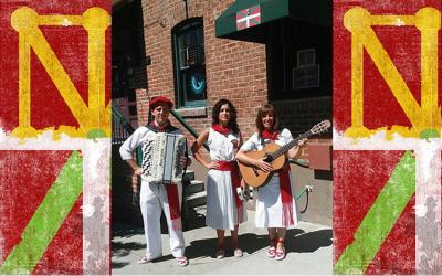Jota musicians Iñaki, Cristina, and Joanna in front of the Boise Basque Club, while making Jaialdi 2015's atmosphere even more unforgettable (Images: I.R., Jaialdi 2015, and Wikimedia)