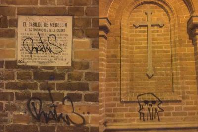 Aspecto de las paredes de la iglesia de San José en El Poblado, Medellín, Colombia, tras los graffiti (foto Leonardo de Constantino, Medellín EsCultural)