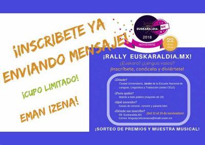 Mexikoko Euskaraldiko Rallyan parte hartzeko gonbidapena, datorren ostegunean UNAMen