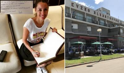 "Carolina Ardohain ""Pampita,"" visited the Euzko Alkartasuna Hotel in Macachin"