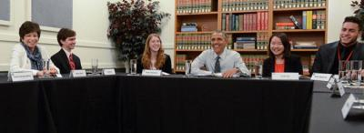 President Obama seen here with the students; first on the right is Basque-American Rollins Stallworth III (photoStandfordNews)