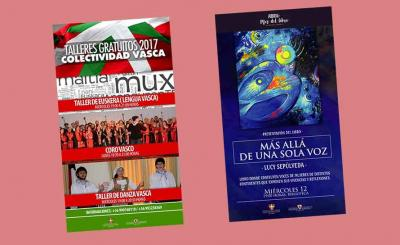 Posters for activities at the Basque Community of Chile Basque Club in 2017 as well as last week's book presentation