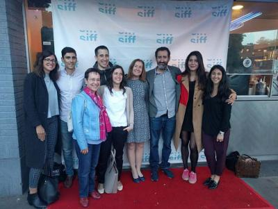"Jon Garaño, co-director of ""Handia,"" along with members of the Euskal Etxea of Seattle who stopped by to say hello (photoSEE)"