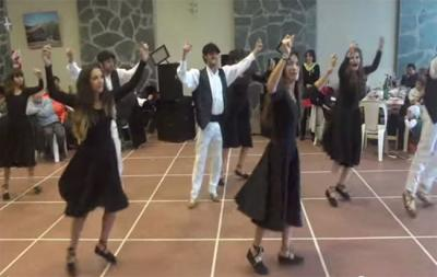 Members of the local Basque dance group Ugarritzak dancing at the festival in the Basque headquarters of Euskaldunak Denak Bat