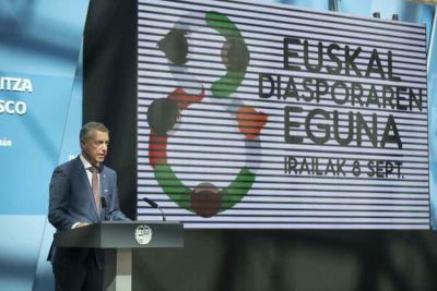 Lehendakari Iñigo Urkullu during his address at the official Day of the Basque Diaspora event (photo Irekia)
