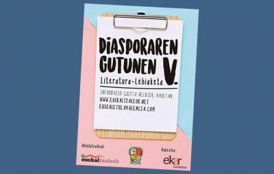 """Poster for the """"5th Letters from the Diaspora"""" contest organized by Euskaltzaleok and the Centro Navarro in Valencia"""