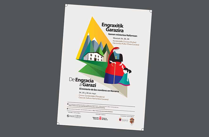 "Poster for the course ""From Engracia to Garazi, the Mystery of Names in Navarre"""