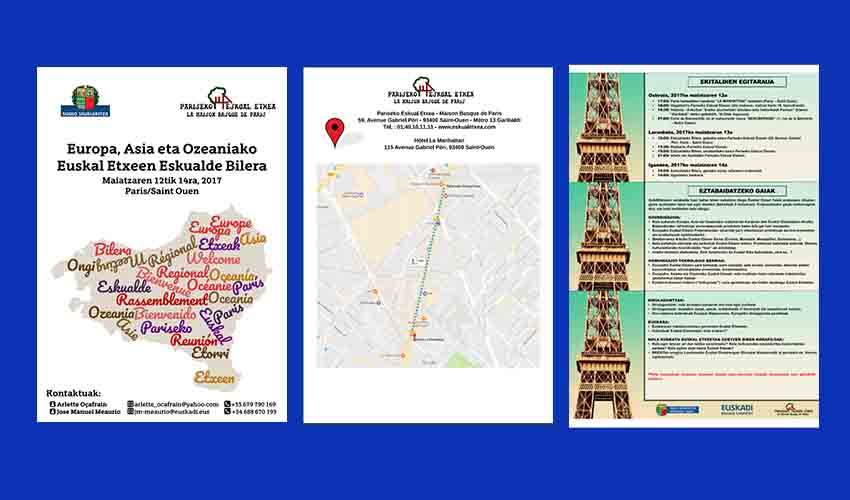 Poster and program for the Regional Meeting of Basque Clubs in Europe, Asia and Oceania at the Paris Eskual Etxea