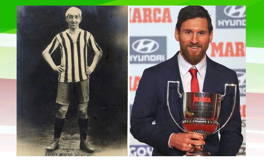 Rafael Moreno Aranzadi 'Pichichi' y el ganador del 'Pichichi' 2017-2018 Lio Messi