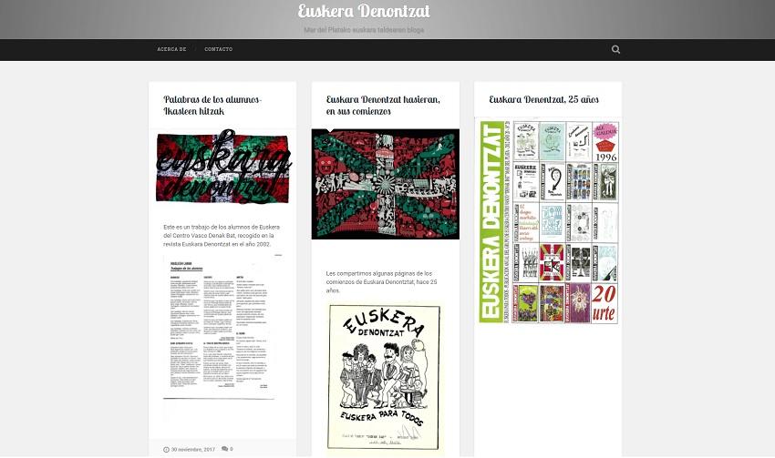 Pantalla principal del Blog Euskara Denontzat
