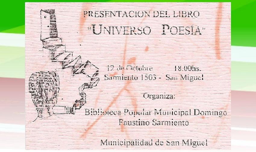 El libro 'Universo poesía' se presentará el 12 de octubre