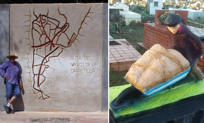 Image of the mural along with its author, Marclo Moreyra and the sculpture that was unveiled during the 116th anniversary of Iguazu.