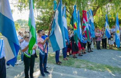 The flags carried by Denak Bat at the city of Cañuelas' 197th anniversary