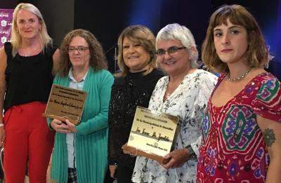 The city of Arrecifes honored Teresa de Zavaleta (second on the right) on International Women's Day