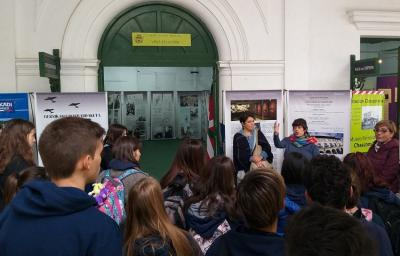 Students form the local high school visiting the exhibit