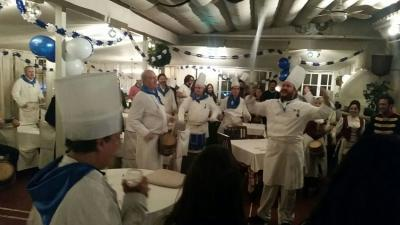 The Madrid Basque club celebrated with dinner the night before San Sebastian at the Jai Alai restaurant.  The name was prophetic, because it was a big party! (photo Madrid EE)