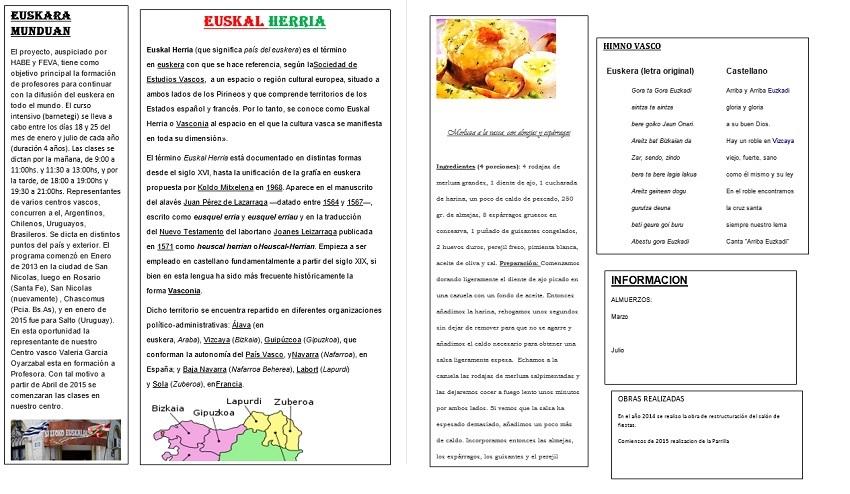 'Zelaiko Euskal Etxea' Newsletter