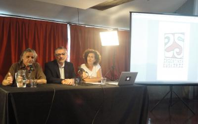 """Horacio Gonzalez, Hugo Andiazabal and Sara Pagola at the inauguration of In the Footsteps of the Basque Language.  The Basque Language and its Presence in Argentina.""""  (photoEuskalKultura.com)"""