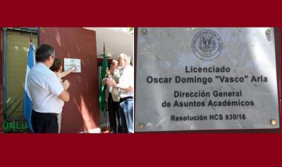 Lujango Unibertsitate Nazionalean egindako zeremonia eta jarritako plaka