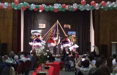 """Dantzaris from Haize Dantzariak performing """"Zinta Dantza"""" they learned online with help from the Duguna group in Pamplona"""