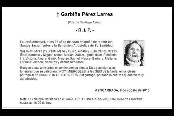 Garbiñe Pérez Larrea de Aznar