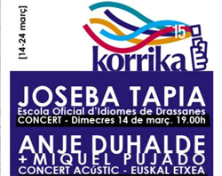 Cartel anunciador de las actividades organizadas por la Euskal Etxea para la Korrika 15 de Barcelona