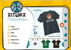 Portada de Aitunea, una web que ofrece desde Argentina diseños de clara inspiración vasca. Aitunea es el nombre del caserío navarro del que salieron para Argentina los antepasados de la diseñadora y creadora de la web, M Virginia Laorden