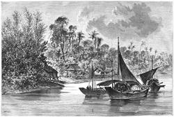 Un grabado antiguo de los ríos en la costa de Davao