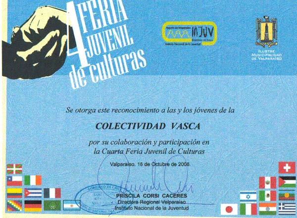 Diploma otorgado a los jóvenes del Eusko Etxea porteño tras su participación en la IV Feria Juvenil de Culturas