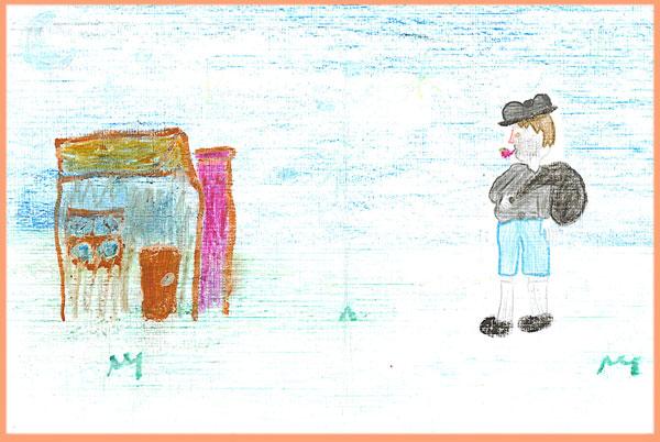 Marrazki originala, 10 urte dituen Beatriz izeneko haur uruguaitar batek egina, Olentzero etxe batera opariak uztera doala margoturik. Posta arruntez heldu zaigu, Montevideoko Haize Hegoa Euskal Etxeak bidalia