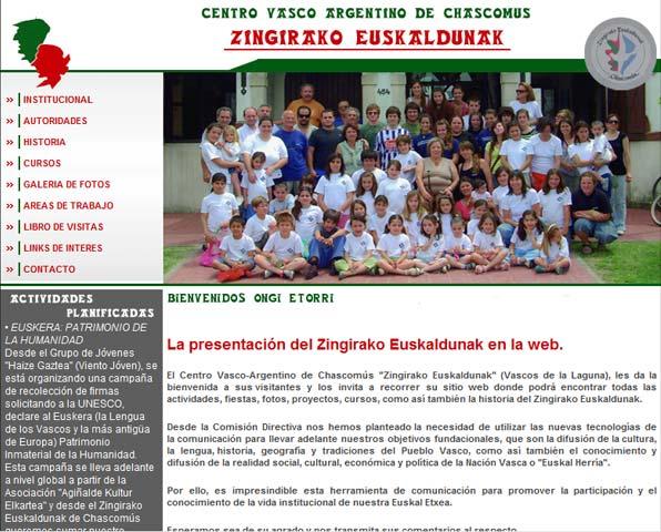 Zingirako Euskaldunak-en webgune berriaren azala