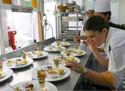 Chef/owner Camille Ratton working at her Bakea restaurante