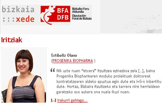 Estibaliz Olano egitasmoan parte hartu duen ikerlarietako bat da (argazkia bizkaia:xede.org)