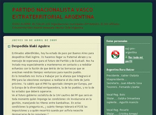 Argentinako Eusko Alderdi Jeltzaleko bloga