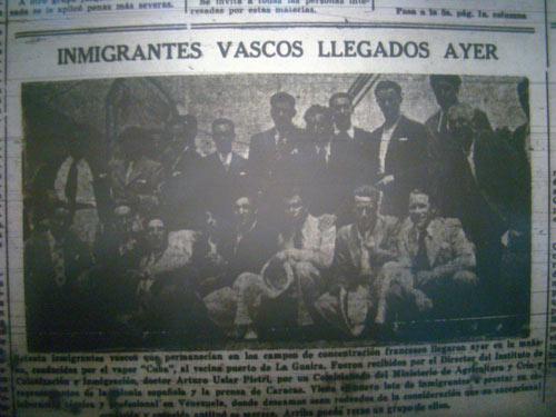 Ref lejo en la prensa venezolana de la llegada de refugiados vascos al país