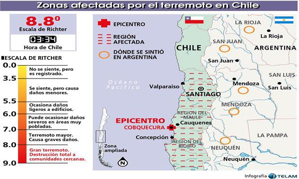Mapa de las zonas más damnificadas (Terremotochile.com)