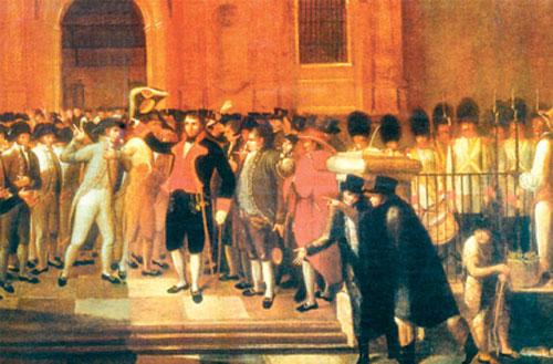 Juan Lovera (1776-1841) pintore venezuelarraren koadro baten zatia. Erdian dagoena Vicente Emparan da.
