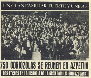 1956an argitaratutako albistea, Odriozolatarrek urte horretan egindako bilera islatuz