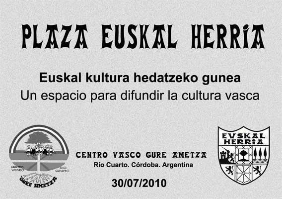 Rio Cuartoko 'Euskal Herria Plaza' berdegunaren inaugurazioko gonbidapena